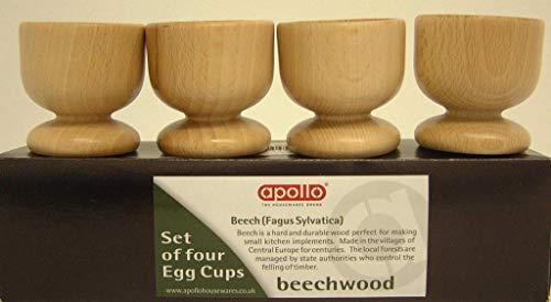 Apollo Housewares  Set di 4 portauova in Legno di faggio 24 x 55 cm Naturale
