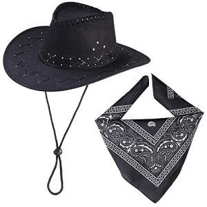 Beefunny Cappello da Cowboy e Set di Accessori Costume in Costume Western Wild Bandana di Paisley Nero