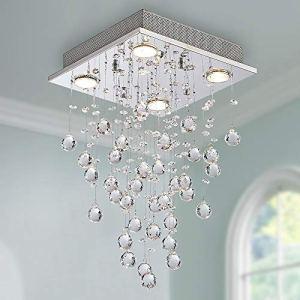 Bestier Moderno cristallo goccia di pioggia lampadario illuminazione a incasso LED plafoniera lampada a sospensione per sala da pranzo bagno camera da letto soggiorno 4 GU10 LED Lampadine richiesto