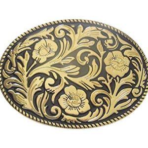 BijouxModefashion Fibbia per cintura floreale dorata stile western country music cowboy biker