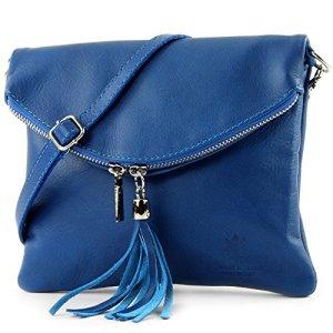 borsa di pelle ital pochette pochette borsa tracolla Ragazze T139 piccola pelletteria ColoreT139 Blu