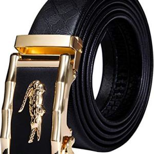 Cintura da uomo in pelle bovina con stampa 3D automatica fibbia a cricchetto nera senza foro per jeanscowboy confezione regalo Un coccodrillo nero Large