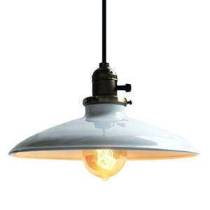 Edison Lampada a sospensione classica Lampada a soffitto in metallo Plafonierain stile vintage industriale lampadarioper Sala Bar Ristorante Ufficio Retro Bianco