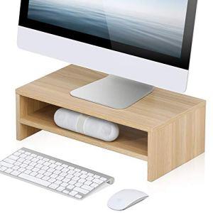FITUEYES Supporto Monitor Legno Oak 2 Livelli per PC Schermo per Computer Portatile Riser 425x235x14cm DT204201WO