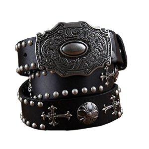 HanWay Uomo Vintage 38 millimetri Genuine Pelle Studded Cintura Cowboy Cintura con borchie XL Nero