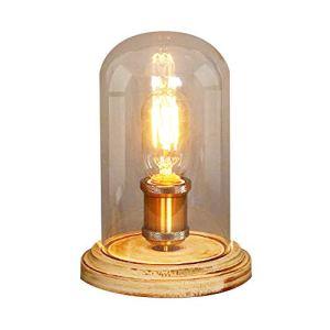 Lampada da tavolo in vetro trasparente base in legno illuminazione vintage per comodino camera da letto bar soggiorno caffetteria bar