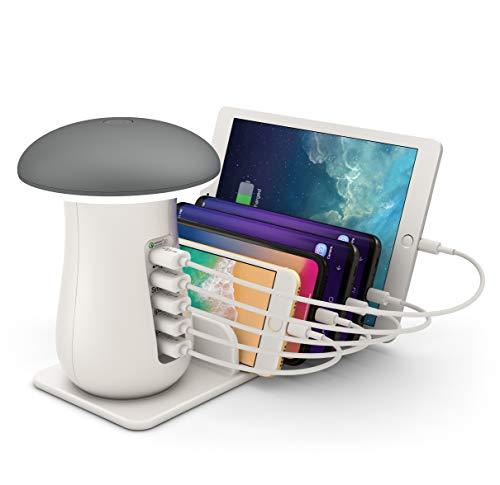 Lampada da Tavolo ONLT Lampada da Scrivania ricaricabileStazione di ricarica USBDimmer TouchPorta di Ricarica USB per Smartphone e altri dispositivi mobiliGrigio