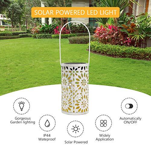 Lanterna Solare Esterno Tencoz LED Luci Solare Le luci solari da Giardino Lampada Vintage Lampada da Giardino Impermeabile Esterno per Prato Percorso Illuminato Classe energetica A