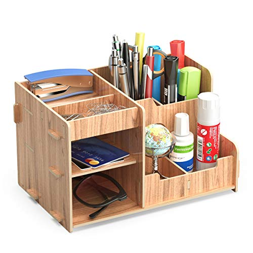 Lesfit  Organizer da scrivania in legno per cancelleria scrivania per penne matite telefono cellulare marrone