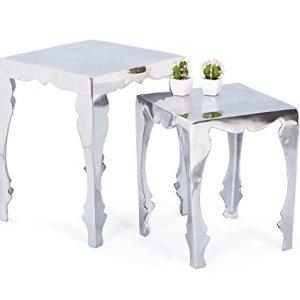 Links  Industry A36  Set 2 tavolini Dim 399x395x50 h cm Col Argento Mat Metallo