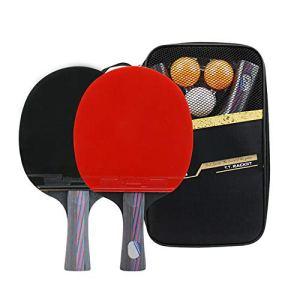 Mintice 2 Set di Racchette da PingPong Professionale Paddle Ping Pong Set da Tennis da Tavolo 3 Palline e Custodia 7 Strati di Legno