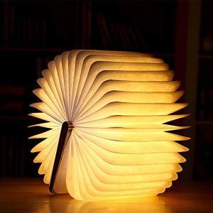 MMTX Lampada a libro a led in legno Decorazione Lampada da notte Pieghevole per libri con lampada tavolo magnetica ricaricabile scrivania per regalo di Natale regalo di San valentine per la mamma