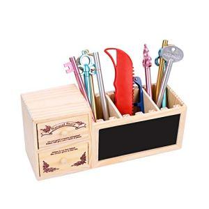 Portapenne in legno per tenere in ordine la scrivania con 3 scomparti per la cancelleria adatto per i bambini per la scuola per lufficio Lavagna Modello 20x 10x 7cm