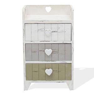Rebecca Mobili Comodino 3 cassetti cassettiera bianca grigio beige legno paulonia shabby camera bagno  Misure 58 x 35 x 27 cm HxLxP  Art RE4378