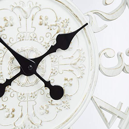 Relaxdays 1002200249 Orologio da Parete per Cucina XL Stile Vintage Analogico Silenzioso dal Design Romantico Diametro 56 cm Bianco