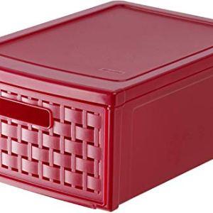 Rotho Box con cassetto Country effetto rattan in plastica PP contenitore portaoggetti con 1 cassetto color rosso 35x26x145 cm capienza del  portaoggetti 83 l utilizzabile singolarmente o in un sistema di cassetti