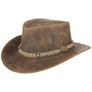 Scippis Williams Cappello Australiano di Pelle  Cow Boys Hat  Look Invecchiato  EstateInverno Marrone L5960cm