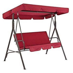 Set di copertura per dondolo da patio formato da copertura superiore di ricambio e copertura per cuscino del dondolo a 3 posti impermeabile copertura parasole rosso