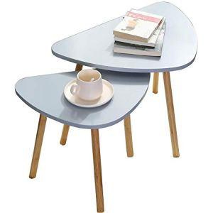Set Di Due Tavolini Da Caffe Grigi in Legno Scandivavi 60x40xH45 E 46x30xH41 Minimalisti Appoggio Piante Vasi Comodino Legno MDF Tavolini Salotto Tavolino Grigio