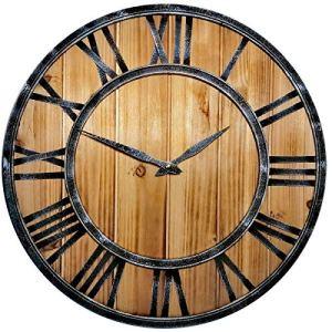 SKJIND  Orologio da parete in legno rustico silenzioso con struttura in ferro Burlywood 45 cm