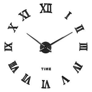 SOLEDI Orologio da Parete Silenzioso Preciso Fai da Te 60120cm Facile da Montare Effetto 3D Riempire Vuoto Parete Moderno Adesivo Orologio Parete Decorazione per Casa Ufficio Hotel ArgentoNero