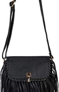 styleBREAKER Borsa a tracolla da donna con frange e fibbia borsa a tracolla borsa con frange borsa Crossbody 02012300 coloreNero