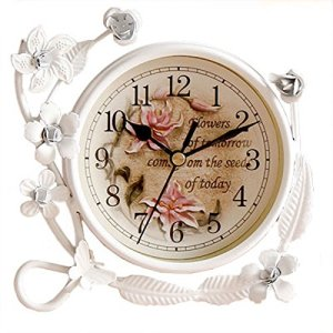 SWH White Flower Rustic Iron Mantel Table Clock Living Room Bedroom Quiet Table Clock Home Decor