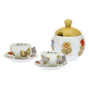 THUN  Set Tazzine caff da 2 con Zuccheriera Decorate con Fiori e Farfalle  Accessori Cucina  Linea Country  Porcellana  Zuccheriera con Coperchio 14 h cm