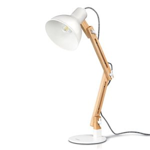 tomons lampada da lettura design legno classico lampada da tavolo lampada regolabile scrivania con braccio snodato eyefriendly Bianco
