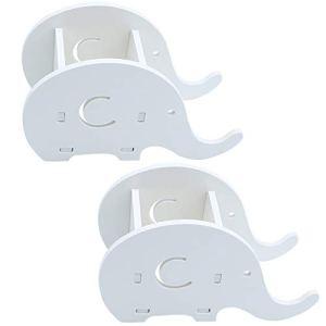 UBERMing 2 Supporti per Cellulare a Forma di Elefante Portapenne da Scrivania Portapenne in Legno Simpatico Elefante Portapenne da Scrivania  Bianco