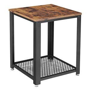 VASAGLE Tavolino da caff Comodino per Divano Gambe in Metallo Stile di Vintage e Vissuto per Soggiorno Camera da Letto Cucina LET41X