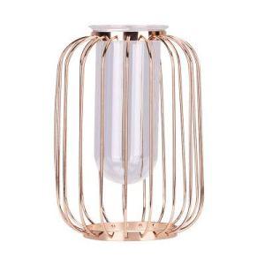 Vaso in oro a forma di lanterna in ferro battuto portacandele in filo di vetro vaso di fiori adatto per la decorazione floreale  per matrimoni  interni  ufficio di mazzi di fiori oro champagne