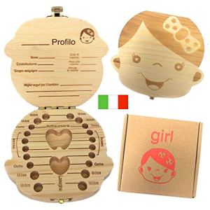 Versione ItalianaDenti box per bambini baby Teeth Storage box Save organizer scatole di legno personalizzata Decidue souvenir box personalizzare personalizzato Baby Teeth Collection box