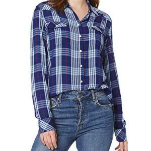 Wrangler Western Check Shirt Camicia Blu Blue Depths Xjy XLarge Donna