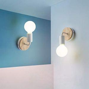 XIHOME 2 Decorazioni in legno bianco Lampada da parete LED sugi Lampada decorativa per interniApplique da comodino in stile country vintage rustico Lampade retr edison calde Lampadina E27 Max 60W