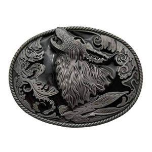 YONE Fibbia per Cinture Howling Wolf Coyote Brocade Cowboy Belt Buckle