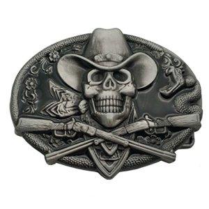 YONE Fibbia per Cinture Western Cowboy Skull Pirate Rifles Belt Buckle Nero