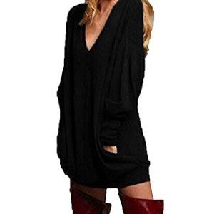 ZANZEA Donna Pullover Maglia Scollo a V Manica Lunga Camicetta Sweater Autunno Inverno Partito 1Nero XL