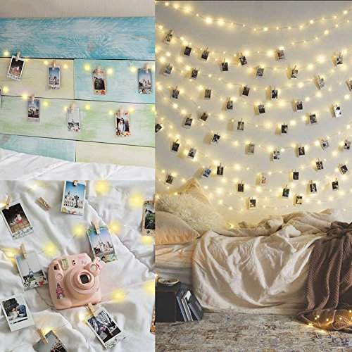 10M 100LED Luci per Foto Polaroid Lucine Led Decorative per Camere Porta Foto Mollette Luci Led Foto Clip Luci Mollette Led Luci Tumblr Camera con 50 Clip  20 Chiodi