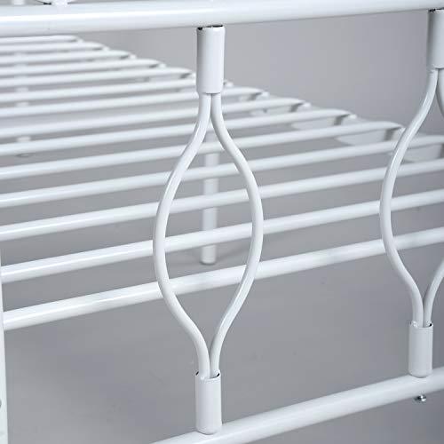 Aingoo Letto in Ferro Singolo per Bambina Struttura Letto Singolo 90x190 cm Bianco
