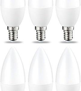 AmazonBasics Lampadina LED E14 a Candela 55W equivalenti a 40W Luce Bianca Calda Pacco da 6