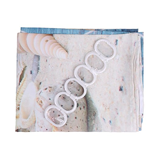 ANPI Tenda da Doccia Antimuffa Impermeabile Stampe a Guscio 3D Tessuto Resistente in Poliestere Lavabile in Lavatrice Antibatterico Facile da Pulire 180x180cm 12 Anelli Inclusi