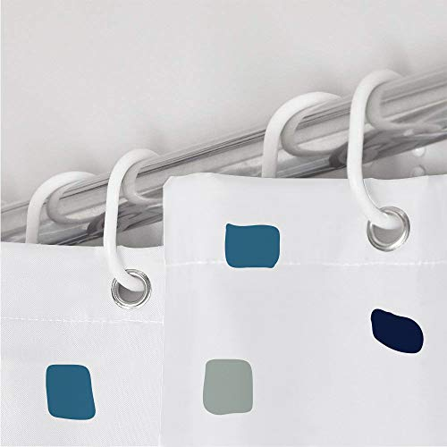 ANSIO Tenda Doccia Tenda da Bagno Vasca da Bagno Antimuffa Antibatterica Impermeabile e Lavabile 180 x 180 cm 71 x 71 Pollici  100 Polyester  a Mosaico  BluNero