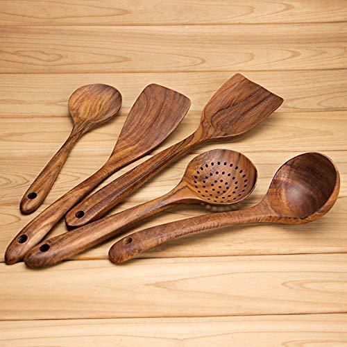 AOOSY Utensili per Cucina 5 Pezzi Set Utensili da Cucina Giapponesi in Legno Set di Utensili Senza Graffio Resistente al Calore Set di Utensili da Cucina in Legno per Padelle Antiaderenti Set Cucina
