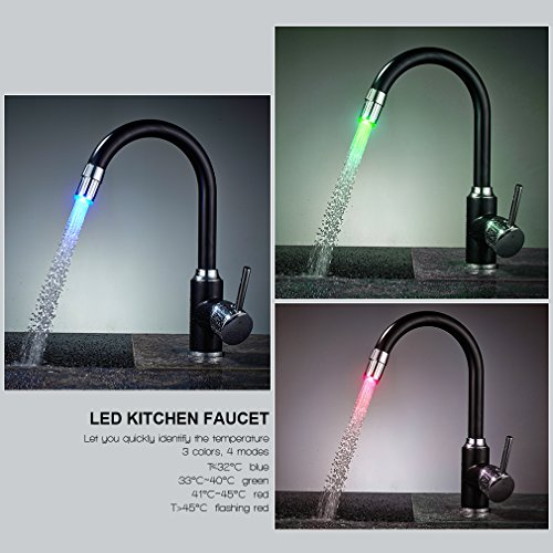 Auralum Rubinetto Miscelatore con LED RGB per Cucina Nero Una Manopola Ottone