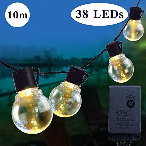 Catena luminosa lampadina luci della stringa con 38 Bulbi Luce Calda Bianca impermeabile 8 modalit 32ft 10m Decorativa da Interni e Esterni anche per Festa Giardino Natale Matrimonio