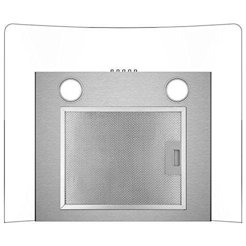 CIARRA Cappa Aspirante60 cm550 mhControllo PulsantiFiltri Grassi Luce LEDVetroCappe Camino Cucina