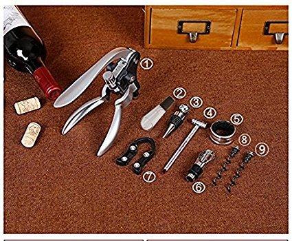 Cooko Apribottiglie ManualeVino Cavatappi con AeratoreVersatoriVino Accessori Incluso 9 Pezzi con Caso Wood Regalo