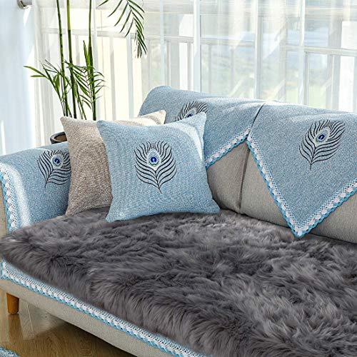 Cumay Faux tappetto di pelle di pecora tappeto  60 x 90 cm imitazione lana adatto per tappeto per soggiorno lunga pelliccia morbida soffice tappetino per il letto divano grigio 60 x 90 cm