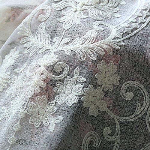 Europea Tenda del ricamo Bianca Pizzo Tenda in tulle Per Soggiorno Camera da letto Balcone Bovindo Decorazioni per finestrebianca 250x270cm98x106inch